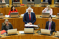 Pictured: First Minister for Wales Carwyn Jones (C). Tuesday 11 December 2018<br /> Re: First Minister for Wales Carwyn Jones during his last First Minister Questions at the Senedd in Cardiff Bay, Wales, UK. He will be succeeded by Assembly Member Mark Drakeford.