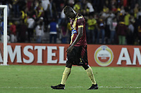 IBAGUE - COLOMBIA, 24-04-2019: Julian Quiñones del Tolima luce decepcionado después del partido por la ronda 4, grupo G, de la Copa CONMEBOL Libertadores 2019 entre Deportes Tolima de Colombia y Boca Juniors de Argentina jugado en el estadio Manuel Murillo Toro de la ciudad de Ibagué. / Julian Quiñones of Tolima looks disappointed after Final second leg match between Deportes Tolima of Colombia and Boca Juniors of Argentina as part Aguila League I 2019 played at Manuel Murillo Toro stadium in Ibague city. Photo: VizzorImage / Alejandro Rosales / Cont
