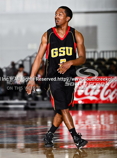Grambling State Tigers guard Donald Qualls (2) in action during the SWAC Tournament game between the Grambling State Tigers and the Mississippi Valley State Delta Devils at the Special Events Center in Garland, Texas. Grambling State defeats Mississippi Valley 65 to 62