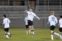 Antoine Hoppenot (9) of the Princeton Tigers celebrates scoring during the first round of the 2010 NCAA Division 1 Men's Soccer Championship against the UMBC Retrievers at Roberts Stadium in Princeton, NJ, on November 18, 2010.