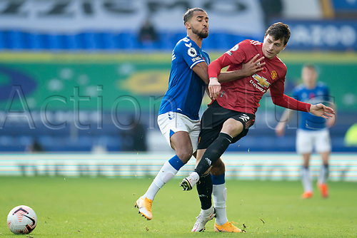 7th November 2020; Liverpool, England;  Manchester Uniteds Victor Lindelof  vies with Evertons Dominic Calvert-Lewin during the Premier League match between Everton and Manchester United at Goodison Park Stadium