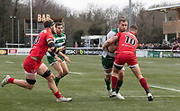Rayn Smid of Ealing Trailfinders is tackled by Brendan Cope of Jersey Reds during the Championship Cup Quarter final match between Ealing Trailfinders and Jersey Reds at Castle Bar , West Ealing , England  on 22 February 2020. Photo by Alan  Stanford / PRiME Media Images.
