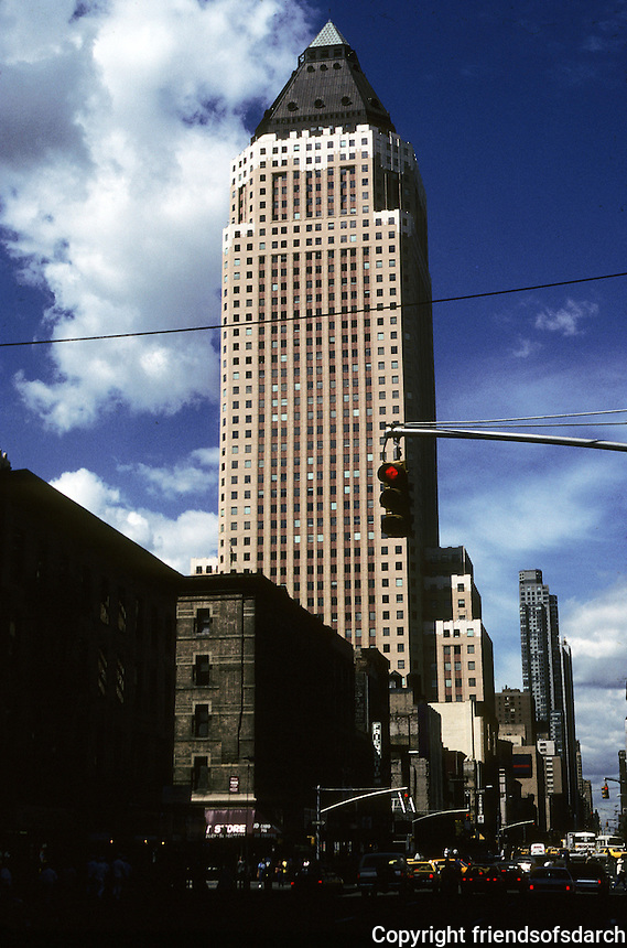 New York City: Office Tower of Worldwide Plaza, 1989, S-O-M. 8th to 9th Aves.,W.  49th-W. 50th St. Note: Emulation of 1920's style--Marine Building, Seattle Tower, etc. Photo '91.