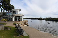 BNPS.co.uk (01202 558833)<br /> Pic: BNPS<br /> <br /> Pictured: Poole Park.<br /> <br /> A resident got a shock when he encountered a live jellyfish in a land-locked park lake.<br /> <br /> Aaron Herber, 38, initially thought the 4ins long white sea creature was a discarded rubber glove due to its tentacles.<br /> <br /> He attempted to fish the 'rubbish' out of 51-acre Poole Park lake in Dorset when it moved suddenly.<br /> <br /> Aaron quickly withdrew his hand and warned a family whose dog was running in and out the water nearby.