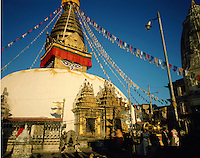 The stupa at Swayambunath, Kathmandu, Nepal. The sacred hilltop of Swayambu is celebrated by several religions but is primarily a Buddhist site, and the Buddha himself is believed to have preached there.