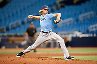 Shane Baz (20) delivers a pitch during the Tampa Bay Rays Instructional League Intrasquad World Series game on October 3, 2018 at the Tropicana Field in St. Petersburg, Florida.  (Mike Janes/Four Seam Images)
