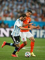 Gonzalo Higuain of Argentina and Robin van Persie of the Netherlands