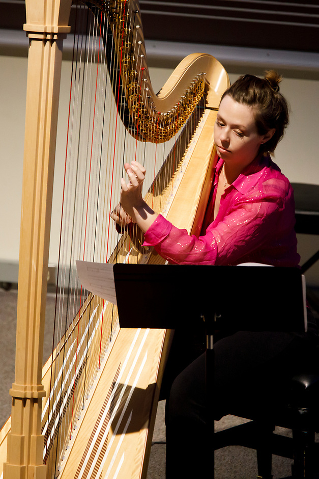 Harpist Jasmine Hogan performs during the Composition Forum at the 11th USA International Harp Competition at Indiana University in Bloomington, Indiana on Monday, July 8, 2019. (Photo by James Brosher)