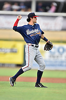 Mississippi Braves shortstop Dansby Swanson (7) warms up between innings during a game against the Tennessee Smokies at Smokies Stadium on July 23, 2016 in Kodak, Tennessee. The Braves defeated the Smokies 3-0. (Tony Farlow/Four Seam Images)