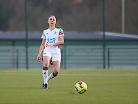 Amber Tysiak (3) of OHL with the ball during a female soccer game between Oud Heverlee Leuven and Racing Genk on the 14 th matchday of the 2020 - 2021 season of Belgian Womens Super League , sunday 28 th of February 2021  in Heverlee , Belgium . PHOTO SPORTPIX.BE | SPP | SEVIL OKTEM