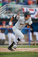 West Virginia Black Bears second baseman Tristan Gray (2) runs to first base after hitting a single during a game against the Batavia Muckdogs on June 25, 2017 at Dwyer Stadium in Batavia, New York.  West Virginia defeated Batavia 6-4 in the completion of the game started on June 24th.  (Mike Janes/Four Seam Images)