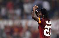 Calcio, Champions League, Gruppo E: Roma vs Bayern Monaco. Roma, stadio Olimpico, 21 ottobre 2014.<br /> Roma's Gervinho celebrates after scoring during the Group E Champions League football match between AS Roma and Bayern at Rome's Olympic stadium, 21 October 2014.<br /> UPDATE IMAGES PRESS/Isabella Bonotto