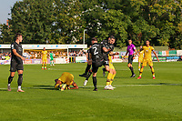9th October 2021;  VBS Community Stadium, Sutton, London; EFL League 2 football, Sutton United versus Port Vale; Tom Pett (23) of Port Vale as team mate Gibbons clears the danger