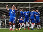 26.02.2020 SC Braga v Rangers: Borna Barisic leads the Rangers celebrations at full time