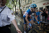 Although he didn't win, Jack Bauer (NZL/Garmin-Sharp) is the hero of the day (together with fellow escapie Martin Elmiger) by simply riding +200km in front and almost succeeding a win, but got overtaken by the steeming peloton in the last 100 meters...<br /> The tragic loss of his possible biggest win thus far, made Bauer extremely emotional just seconds later.<br /> <br /> 2014 Tour de France<br /> stage 15: Tallard - Nîmes (222km)