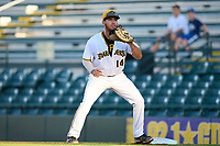 Bradenton Marauders first baseman Ernny Ordonez (14) waits for a throw during Game Two of the Low-A Southeast Championship Series against the Tampa Tarpons on September 22, 2021 at LECOM Park in Bradenton, Florida.  (Mike Janes/Four Seam Images)