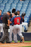 Joe Rizzo (6) Oakton High School in Oak Hill, Virginia greeted at home by teammates after hitting a home run playing for the Cleveland Indians scout team during the East Coast Pro Showcase on July 28, 2015 at George M. Steinbrenner Field in Tampa, Florida.  (Mike Janes/Four Seam Images)
