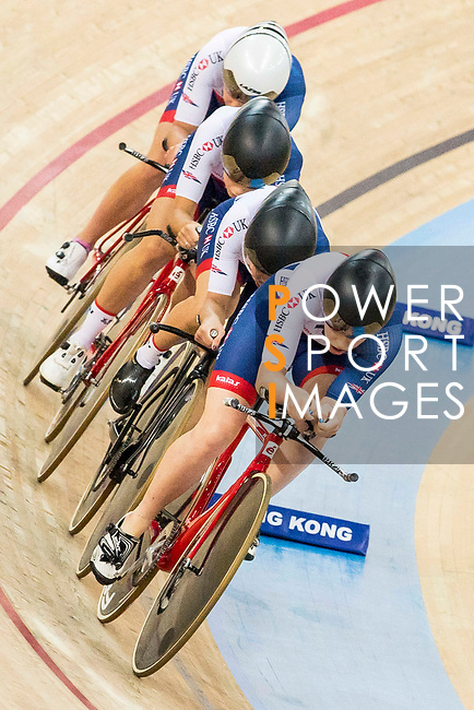 The team of Great Britain with Elinor Barker, Eleanor Dickinson, Manon Lloyd and Emily Nelson competes in the Women's Team Pursuit - 1st Round as part of the 2017 UCI Track Cycling World Championships on 13 April 2017, in Hong Kong Velodrome, Hong Kong, China. Photo by Chris Wong / Power Sport Images