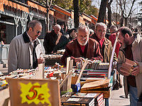 Second-hand book market, Moyano Street, Madrid, Spain.