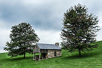 Rustic fieldstone cottage in the rural contryside, Chadds Ford, Pennsylvania, USA