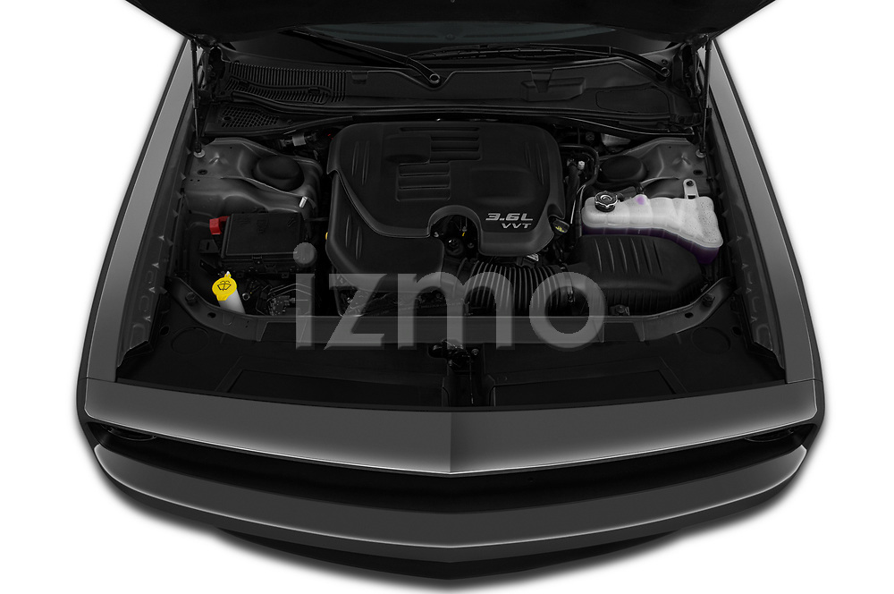 Car stock 2019 Dodge challenger SXT 2 Door Coupe engine high angle detail view