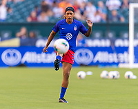 PHILADELPHIA, PA - AUGUST 29: Jess McDonald #22 of the United States warms up prior to a game between Portugal and the USWNT at Lincoln Financial Field on August 29, 2019 in Philadelphia, PA.
