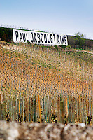 Painted black on white on stone walls M Chapoutier and Paul Jaboulet Aine. The Hermitage vineyards on the hill behind the city Tain-l'Hermitage, on the steep sloping hill, stone terraced. Sometimes spelled Ermitage. Chante Alouette and vineyards. Tain l'Hermitage, Drome, Drôme, France, Europe