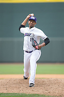 Winston-Salem Dash relief pitcher Michael Ynoa (19) in action against the Myrtle Beach Pelicans at BB&T Ballpark on May 10, 2015 in Winston-Salem, North Carolina.  The Pelicans defeated the Dash 4-3.  (Brian Westerholt/Four Seam Images)