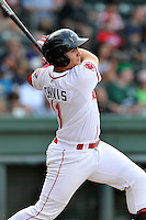 Designated hitter Michael Chavis (11) of the Greenville Drive bats in a game against the Augusta GreenJackets on Thursday, July 16, 2015, at Fluor Field at the West End in Greenville, South Carolina. Chavis was a first-round pick of the Boston Red Sox in the 2014 First-Year Player Draft. Greenville won, 11-5. (Tom Priddy/Four Seam Images)
