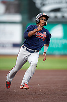 Danville Braves shortstop Nicholas Shumpert (1) runs the bases during a game against the Johnson City Cardinals on July 28, 2018 at TVA Credit Union Ballpark in Johnson City, Tennessee.  Danville defeated Johnson City 7-4.  (Mike Janes/Four Seam Images)