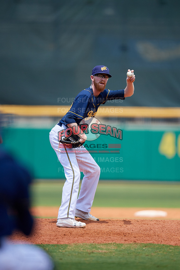 Montgomery Biscuits relief pitcher Travis Ott (28) gets ready to deliver a pitch during a game against the Biloxi Shuckers on May 8, 2018 at Montgomery Riverwalk Stadium in Montgomery, Alabama.  Montgomery defeated Biloxi 10-5.  (Mike Janes/Four Seam Images)