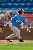 Myrtle Beach outfielder Matt Young (6) follows through on his swing versus Winston-Salem at Ernie Shore Field in Winston-Salem, NC, Monday, May 28, 2007.