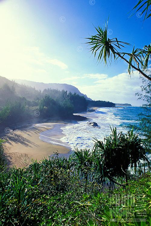 Idyllic and secluded Lumahai beach on Kauai's north shore.