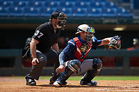 Catcher Treyton Rank (25) of Buford HS in Dacula, GA playing for the Milwaukee Brewers scout team during the East Coast Pro Showcase at the Hoover Met Complex on August 2, 2020 in Hoover, AL. (Brian Westerholt/Four Seam Images)