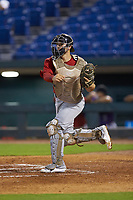 Catcher Joseph Mack (31) of Williamsville East HS in Williamsville, NY playing for the Boston Red Sox scout team during the East Coast Pro Showcase at the Hoover Met Complex on August 2, 2020 in Hoover, AL. (Brian Westerholt/Four Seam Images)