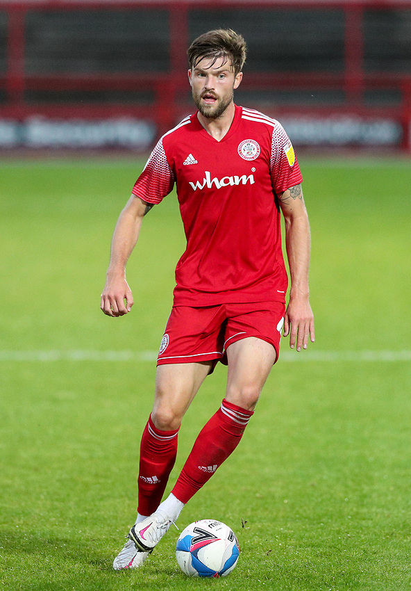 Accrington Stanley's Cameron Burgess<br /> <br /> Photographer Alex Dodd/CameraSport<br /> <br /> EFL Trophy Northern Section Group G - Accrington Stanley v Leeds United U21 - Tuesday 8th September 2020 - Crown Ground - Accrington<br />  <br /> World Copyright © 2020 CameraSport. All rights reserved. 43 Linden Ave. Countesthorpe. Leicester. England. LE8 5PG - Tel: +44 (0) 116 277 4147 - admin@camerasport.com - www.camerasport.com