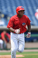 Clearwater Threshers designated hitter Willie Carmona (23) during a game against the Dunedin Blue Jays on April 6, 2014 at Bright House Field in Clearwater, Florida.  Dunedin defeated Clearwater 5-2.  (Mike Janes/Four Seam Images)