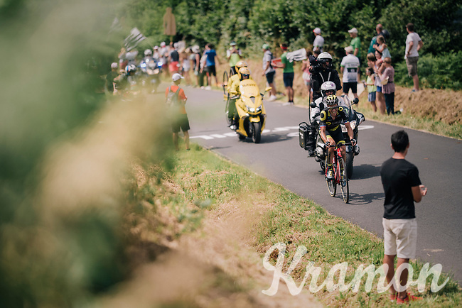 Sylvain Chavanel (FRA/Direct Energie) solo ahead up the 3rd climb of the day<br /> <br /> Stage 5: Lorient > Quimper (203km)<br /> <br /> 105th Tour de France 2018<br /> ©kramon