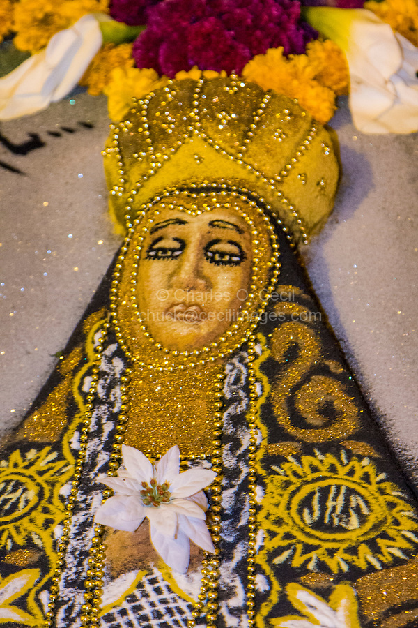 """Oaxaca, Mexico, North America.  Day of the Dead Celebrations.  Sand Painting Representing """"the Angel of Solitude"""", San Miguel Cemetery, presented by the Administrator General of Cemeteries of the state of Oaxaca."""