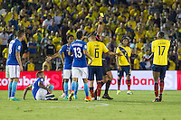 Action photo during the match Brazil vs Ecuador, Corresponding Group -B- America Cup Centenary 2016, at Rose Bowl Stadium<br /> <br /> Foto de accion durante el partido Brasil vs Ecuador, Correspondiante al Grupo -B-  de la Copa America Centenario USA 2016 en el Estadio Rose Bowl, en la foto:  Arbitro Julio Bascunan amonesta a Jaime Ayovi de Ecuador<br /> <br /> <br /> 04/06/2016/MEXSPORT/Victor Posadas.