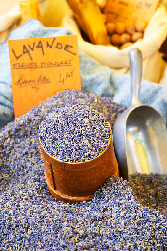 Spice seller at a market. Lavender flowers old by weight. Collioure. Roussillon. France. Europe.