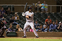 Scottsdale Scorpions catcher Matt Winn (16), of the San Francisco Giants organization, at bat in front of catcher Daulton Varsho (8) during an Arizona Fall League game against the Salt River Rafters at Salt River Fields at Talking Stick on October 11, 2018 in Scottsdale, Arizona. Salt River defeated Scottsdale 7-6. (Zachary Lucy/Four Seam Images)