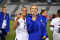 JACKSONVILLE, FL - NOVEMBER 10: Lynn Williams #27 and Abby Dahlkemper #7 of the United States celebrate during a game between Costa Rica and USWNT at TIAA Bank Field on November 10, 2019 in Jacksonville, Florida.