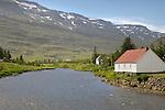 Homes along river,  Seydisfjord, Iceland