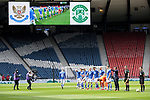 St Johnstone v Hibs…22.05.21  Scottish Cup Final Hampden Park<br />The players line up before kick off<br />Picture by Graeme Hart.<br />Copyright Perthshire Picture Agency<br />Tel: 01738 623350  Mobile: 07990 594431
