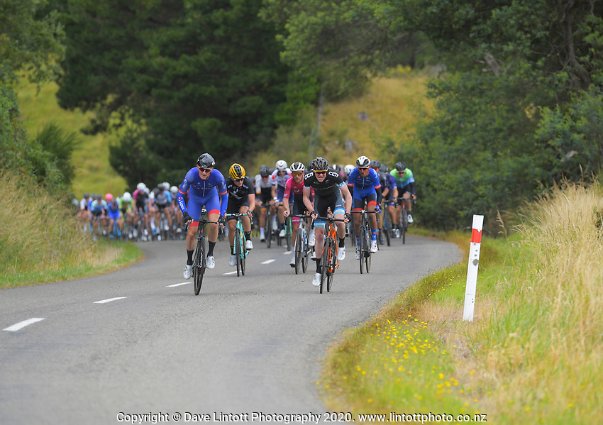 Marcus Culey (Australia/Team Sapura Cycling, front left) and Boris Clark (NZ/EuroCyclingTrips - CMI Pro Cycling) race to the top of KOM 1 on day one of the NZ Cycle Classic UCI Oceania Tour in Wairarapa, New Zealand on Wednesday, 15 January 2020. Photo: Dave Lintott / lintottphoto.co.nz