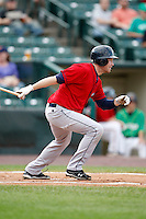 June 26, 2009:  Designated Hitter Jordan Brown of the Columbus Clippers at bat during a game at Frontier Field in Rochester, NY.  The Clippers are the International League Triple-A affiliate of the Cleveland Indians.  Photo by:  Mike Janes/Four Seam Images