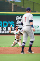 Fort Myers Miracle shortstop Brandon Lopez (1) throws to first base from his knees after making a diving stop during a game against the Clearwater Threshers on May 31, 2018 at Spectrum Field in Clearwater, Florida.  Travis Blankenhorn (7) looks on.  Clearwater defeated Fort Myers 5-1.  (Mike Janes/Four Seam Images)