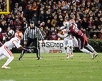 The tenth ranked South Carolina Gamecocks host the 6th ranked Clemson Tigers at Williams-Brice Stadium in Columbia, South Carolina.  USC won 31-17 for their fifth straight win over Clemson.  South Carolina Gamecocks linebacker Skai Moore (10) intercepts a Clemson Tigers quarterback Tajh Boyd's (10) pass