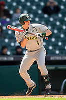 Baylor Bears outfielder Darryn Sheppard (4) squares to bunt during Houston College Classic against the Hawaii Rainbow Warriors on March 6, 2015 at Minute Maid Park in Houston, Texas. Hawaii defeated Baylor 2-1. (Andrew Woolley/Four Seam Images)